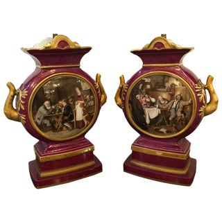 Signed G. Bauer Urns Mounted as Lamps, a Pair French Porcelain For Sale
