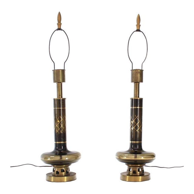 Early 20th Century Pair of Gold Decorated Smoked Glass Turned Shape Table Lamps For Sale - Image 5 of 7
