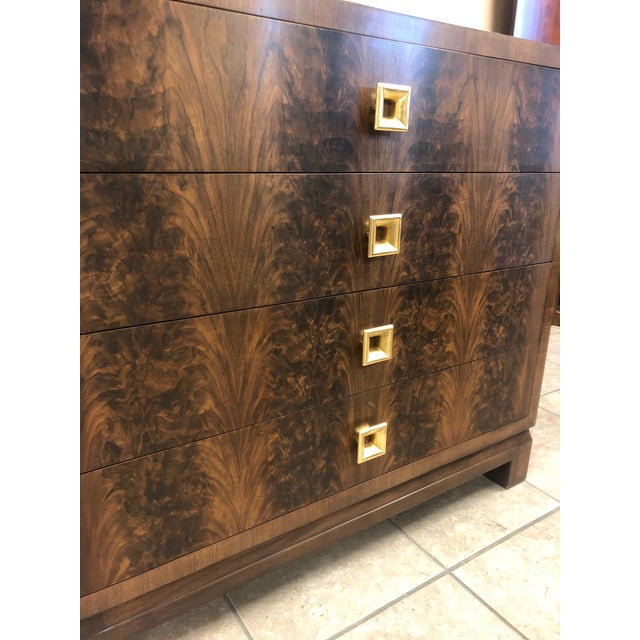 1990s Pair of Flame Mahogany Antique Style Chests For Sale - Image 5 of 7