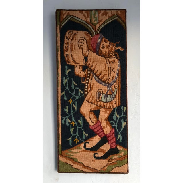 Fabric Medieval Needlepoint Drummer Textile Art For Sale - Image 7 of 7