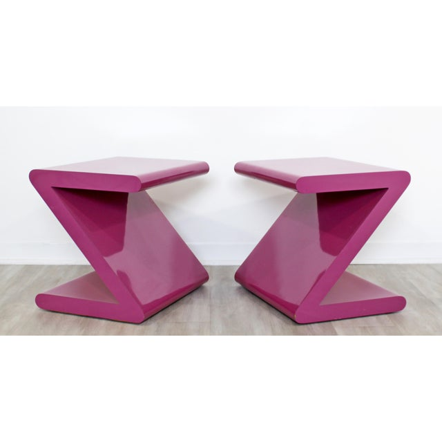For your consideration is an absolutely fabulous pair of pink, Z shaped acrylic side or end tables, circa the 1980s. In...
