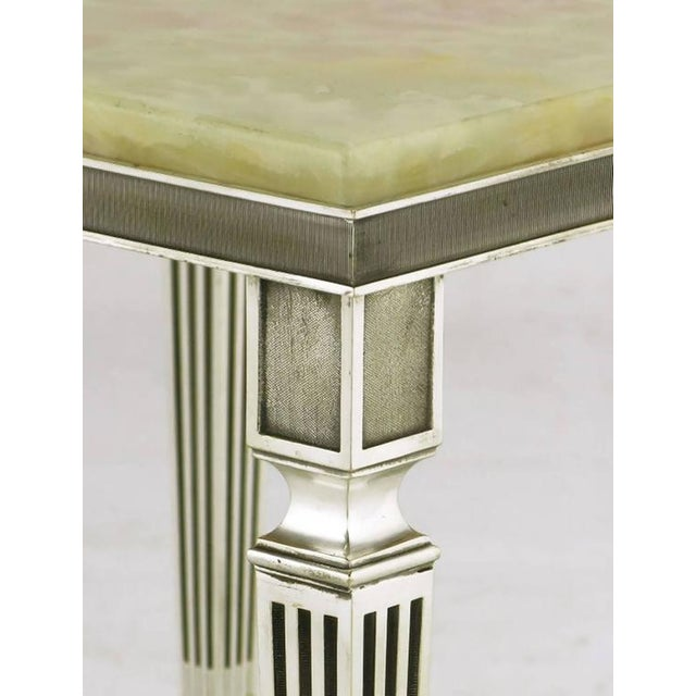 Pair of 1940s Silver Plated Bronze and Onyx End Tables - Image 6 of 7