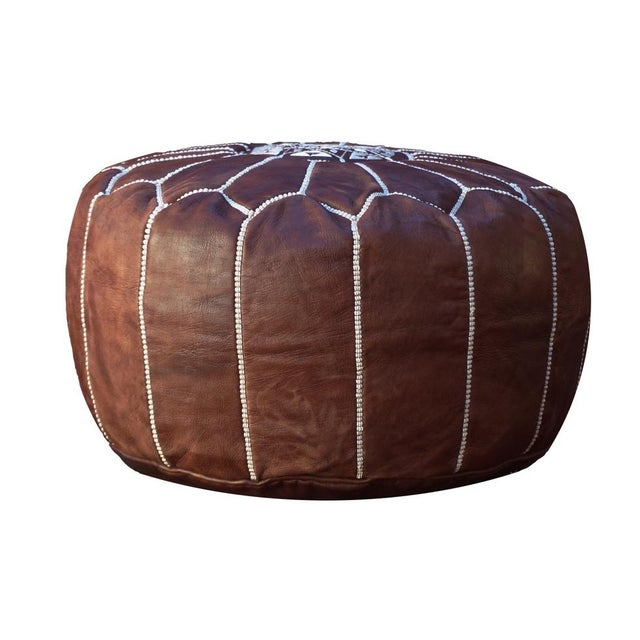 Brown Leather Moroccan Pouf/Ottoman - Image 3 of 4