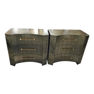 Early 21st Century Asian Inspired Brushed Dark Silver Leaf Etched Nightstands - A Pair For Sale