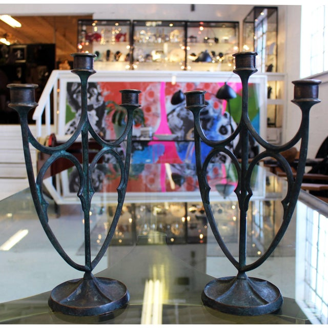 Arts & Crafts Pair of e.t. Hurley Bronze Three-Arm Candlesticks/Candelabra For Sale - Image 3 of 11