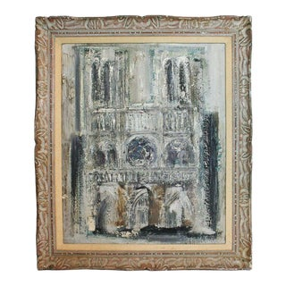 Midcentury Palate Knife Oil Painting of Notre Dame Cathedral For Sale
