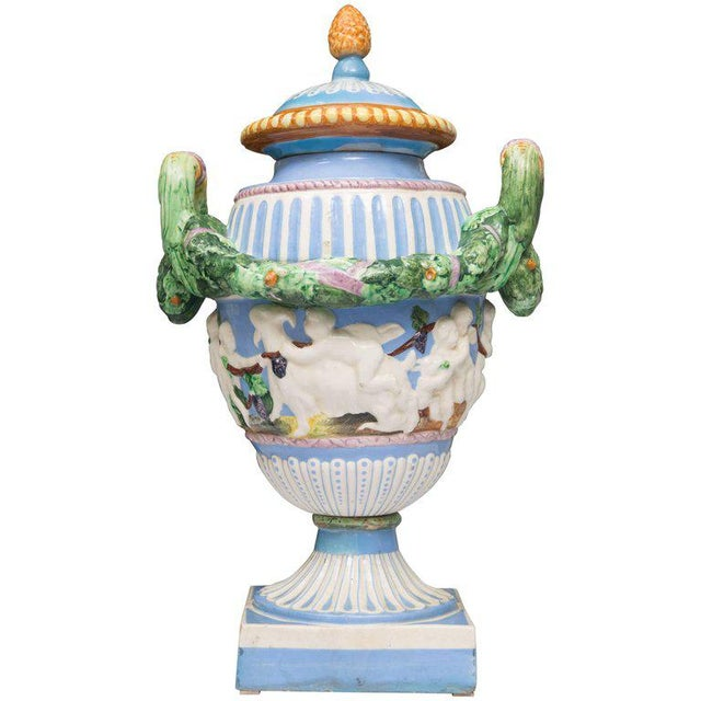 19th Century Della Robbia Italian Hand-Painted and Glazed Lidded Urn For Sale - Image 10 of 10