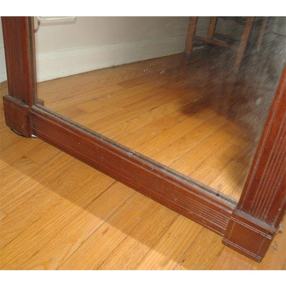 Country 19th Century. Large Floor/Wall Walnut Natural Floor Mirror For Sale - Image 3 of 6