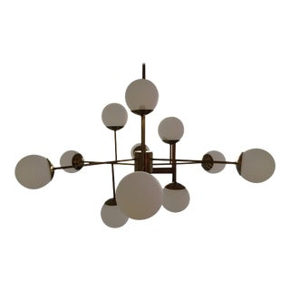 Stilnovo Style Brass Chandelier For Sale