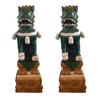 Huge Chinese Ceramic Foo Dog Sculptures - a Pair
