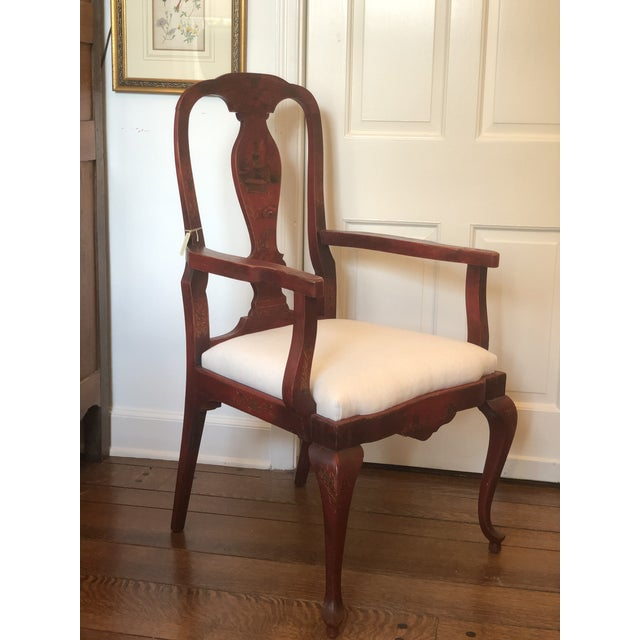 Japanese 19th Century Red Japanese Arm Chair For Sale - Image 3 of 7