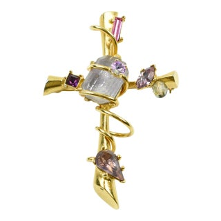 Christian Lacroix Paris Jeweled Cross Pin Brooch Pendant For Sale