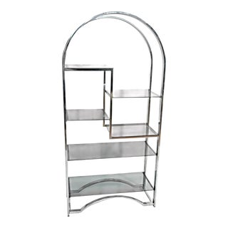 Milo Baughman Chrome Arched Top Etagere For Sale