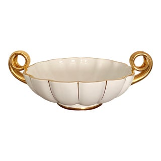 Large Vintage Neoclassical Round Ceramic Bowl With Gilt Handles - Made in Portugal For Sale