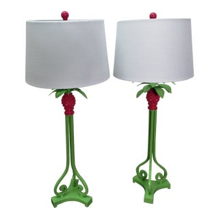Vintage Green and Pink Restored Tall Pineapple Lamps With Shades, a Pair - a Pair For Sale