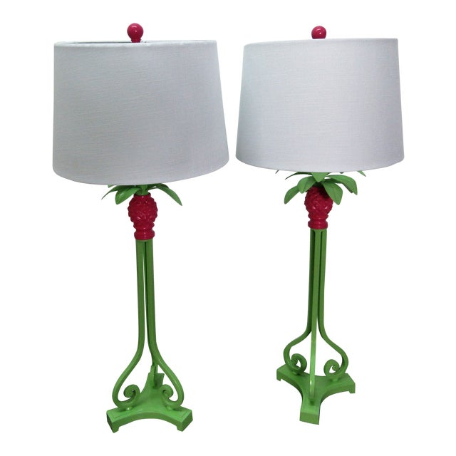 Vintage Green and Pink Restored Tall Pineapple Lamps With Shades - a Pair - a Pair For Sale