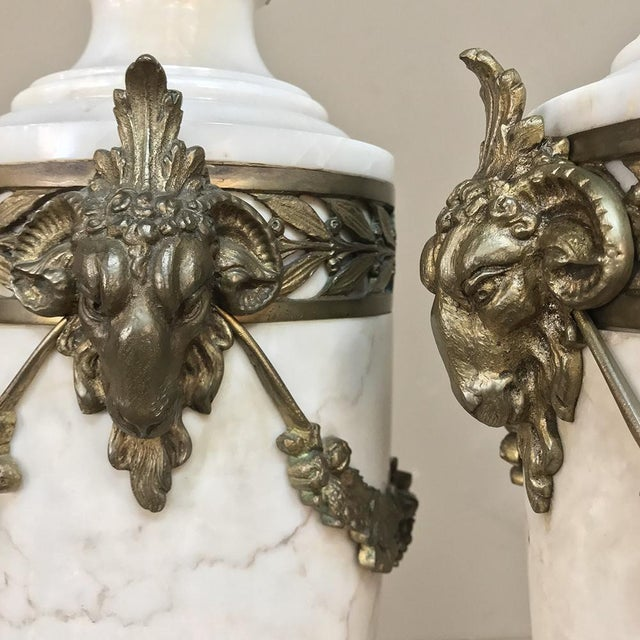 Gold Pair 19th Century French Louis XVI Marble Cassolettes ~ Mantel Urns With Bronze Mounts For Sale - Image 8 of 12