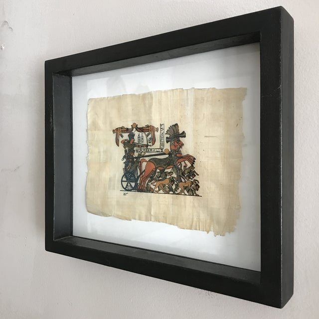 Egyptian Revival Framed Egyptian Chariot on Papyrus For Sale - Image 3 of 5