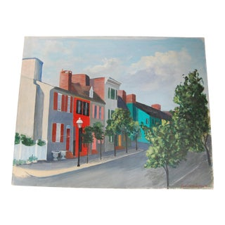 """Vintage """"Row Houses"""" Signed Oil Painting on Canvas For Sale"""