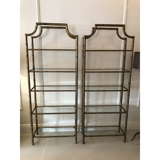 Gilt Faux Bamboo Etageres - A Pair - Image 6 of 6