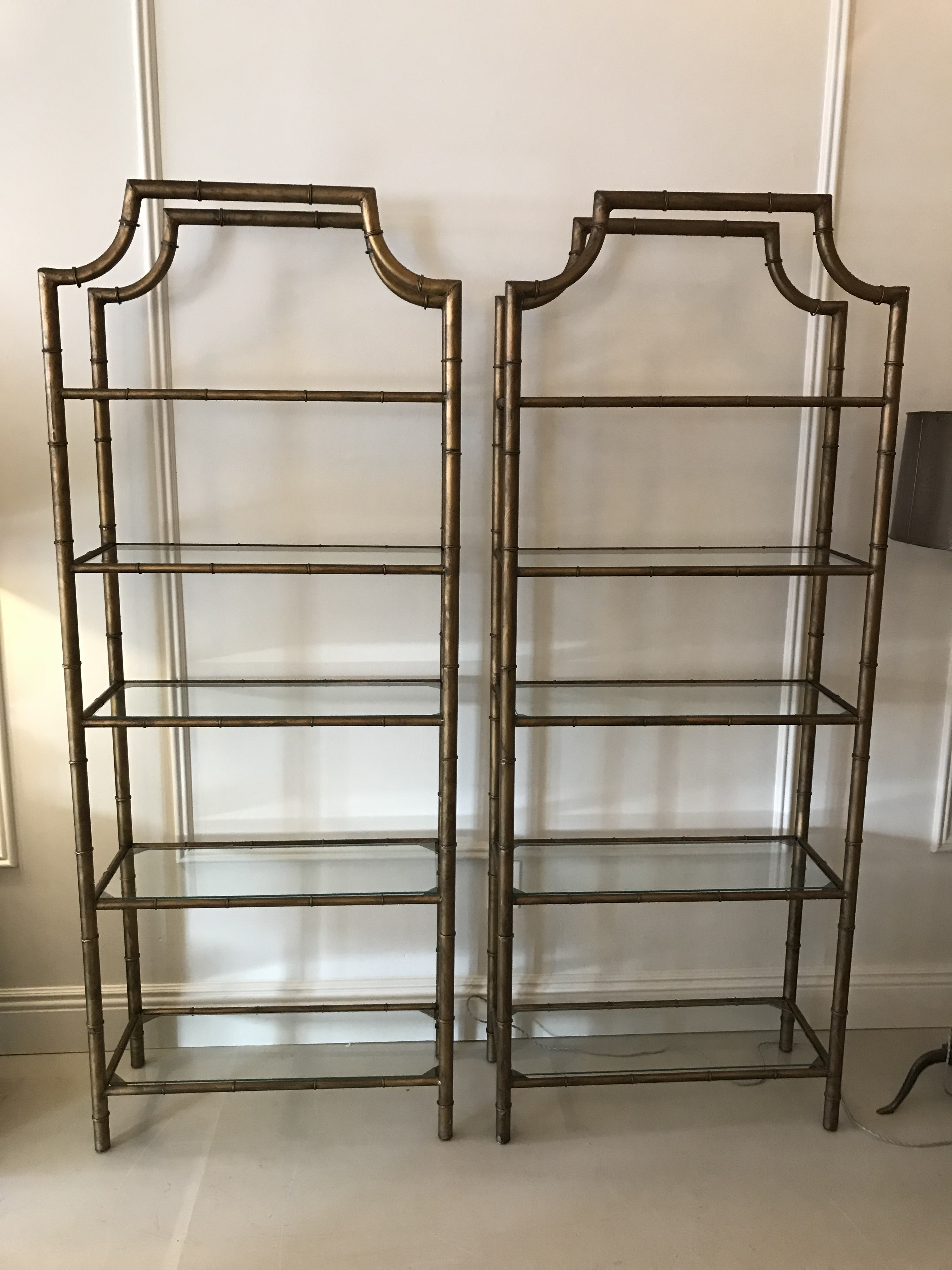 Elegant Gilt Faux Bamboo Etageres   A Pair   Image 6 Of 6