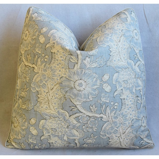 "Designer Hodsoll Camellia/Acorn Linen Feather/Down Pillows 21"" Square - Pair For Sale - Image 11 of 13"