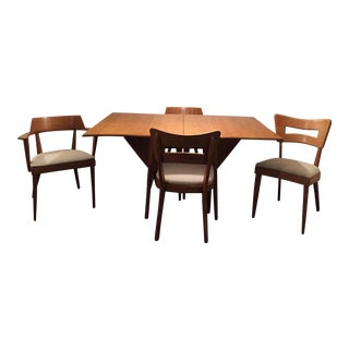 Mid-Century Modern Heywood Wakefield Extension Dining Table & Chairs- 5 Pieces For Sale