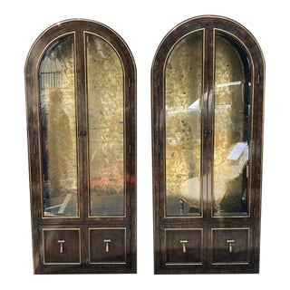 Mastercraft Burled Wood and Brass Vitrine Cabinets by William Doezema- A Pair For Sale