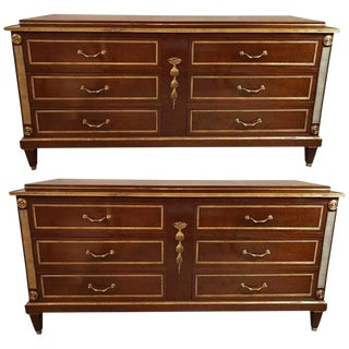 Palatial Pair of Russian Neoclassical Style Step Up Chests or Commodes For Sale