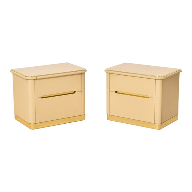 1980s Lane Brass and Cream Nightstands-a Pair For Sale