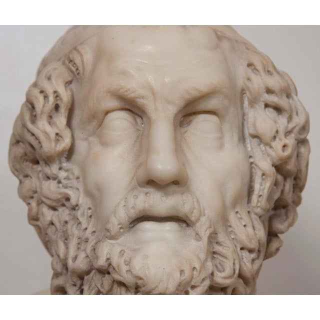 Late 19th Century Marble Bust of Homer For Sale - Image 5 of 11