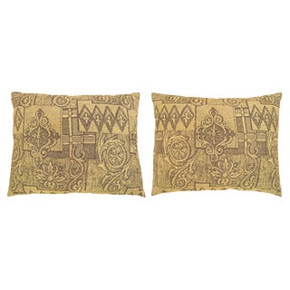 """Vintage Art Deco Decorative Pillows With Floro-Geometric Design on Both Sides; Size 22"""" X 18"""" - a Pair For Sale"""