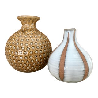 Organic Modern Contemporary Pottery Vases - a Pair For Sale