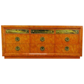 Custom Mastercraft Amboyna Burl & Acid Etched Brass Dresser For Sale