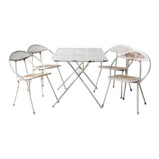 Mid-Century White Metal Patio Table Set