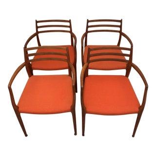 1960s Vintage Niels Otto Moller Model 62 Teak Armchairs - Set of 4 For Sale