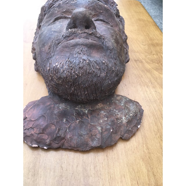 1980s 1980's Clay Sculpture of a Man's Face For Sale - Image 5 of 7