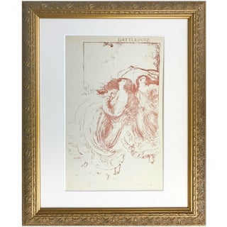 """1896 Art Nouveau """"Battledore Robert Bell Women Tennis"""" Lithograph"""