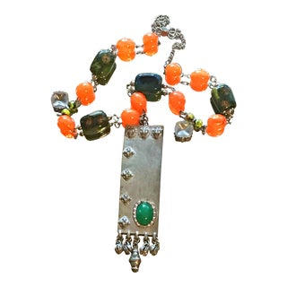 1970s Vintage Accessocraft Boho Gypset Statement Orange Green Long Necklace For Sale