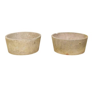 Pair of French Midcentury Cast Concrete Planter Pots With Round Shape For Sale