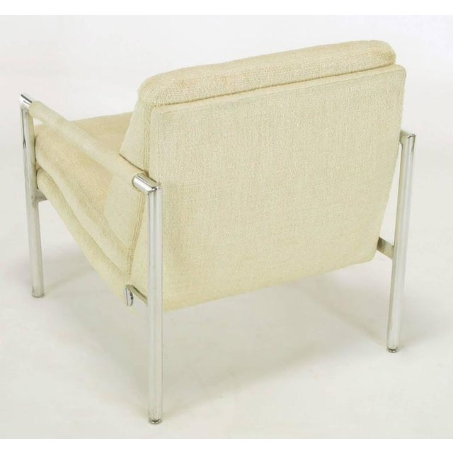 Pair of Polished Aluminum & Linen Lounge Chairs in the Manner of Harvey Probber - Image 8 of 9