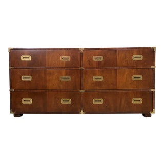 Mid Century Henredon Campaign Chest/Dresser in Mahogany For Sale