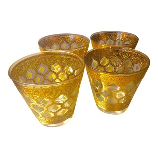 Vintage Culver Valencia Green Diamond & Gold Rocks Cocktail Glasses - Set of 4 For Sale
