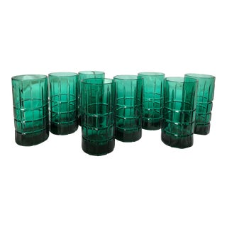 1960s Hollywood Regency Emerald Green Highball Glasses - Set of 8
