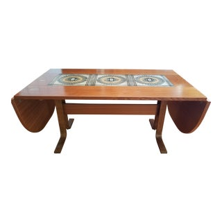 Mid-Century Modern Teak With Ceramic Tiles Dining Table