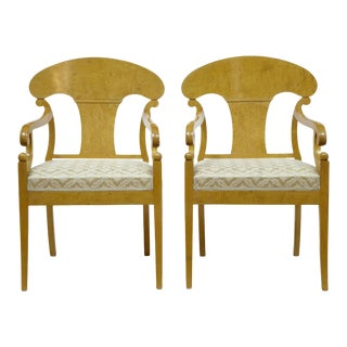 Late 19th Century Antique Swedish Birch Armchairs- A Pair For Sale