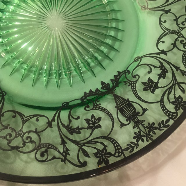 Green Pressed Glass Plate with Sterling Silver Overlay For Sale - Image 5 of 7