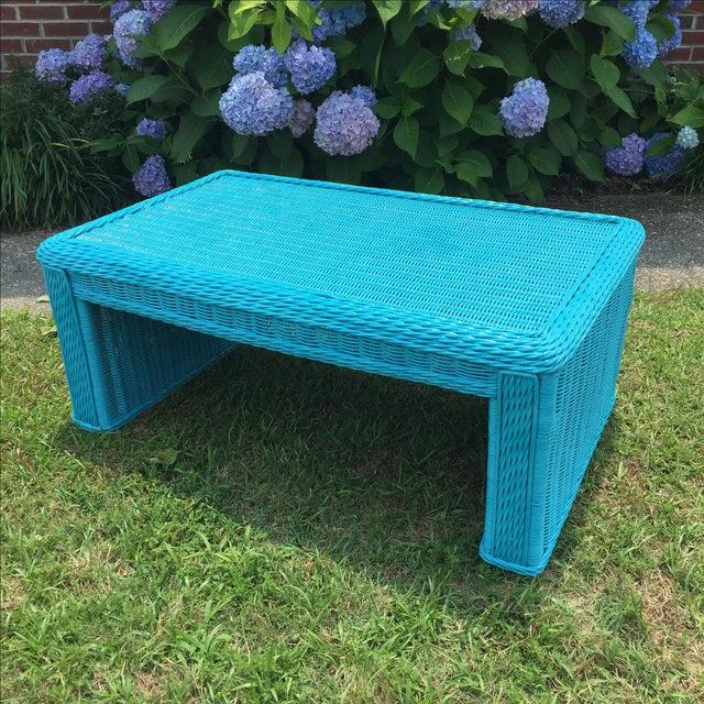 Caribbean Blue Indoor-Outdoor Wicker Coffee Table - Image 5 of 7