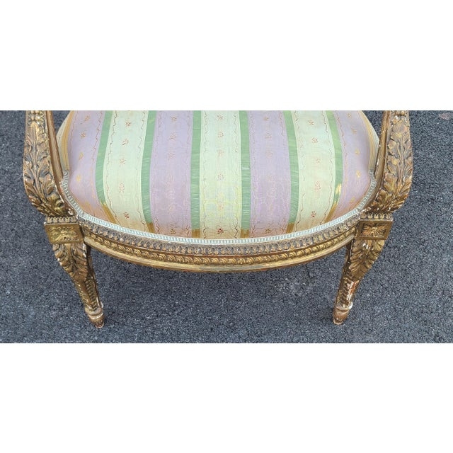 French Fine Early 19th Century French Louis XVI Style Gilded Parlor Armchair For Sale - Image 3 of 12