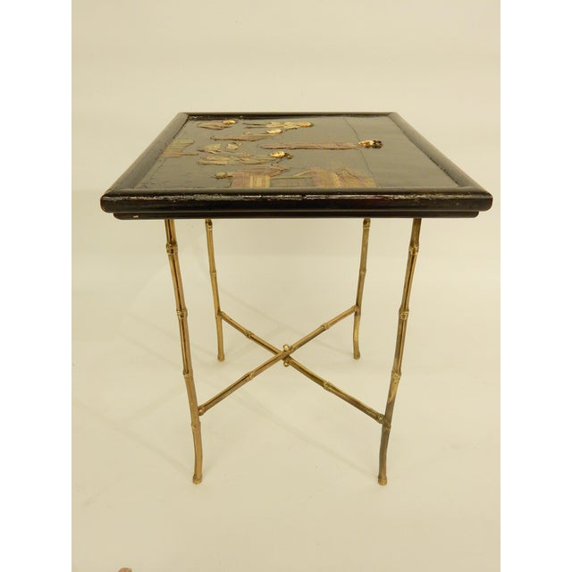 Wood Pair of Bamboo Brass Base and Chinoiserie Top Side Tables For Sale - Image 7 of 8